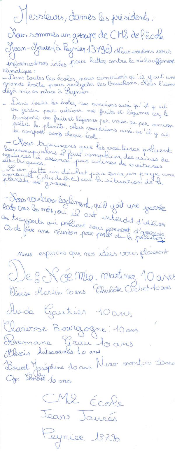 COP21 : courrier des enfants de Peynier