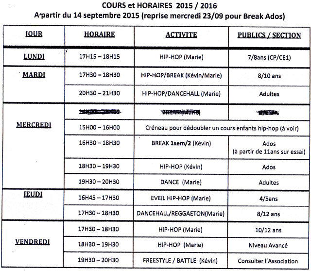 Cours et horaires saison 2015-2016