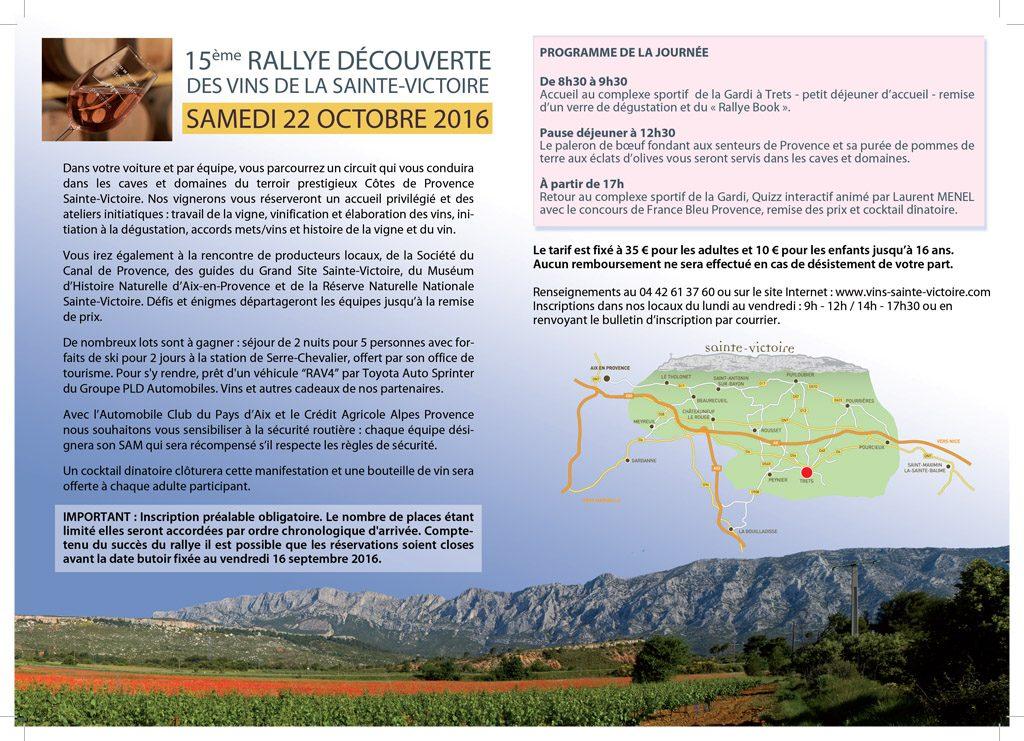 Programme 15ème rallye découverte des vins de la Saine-Victoire