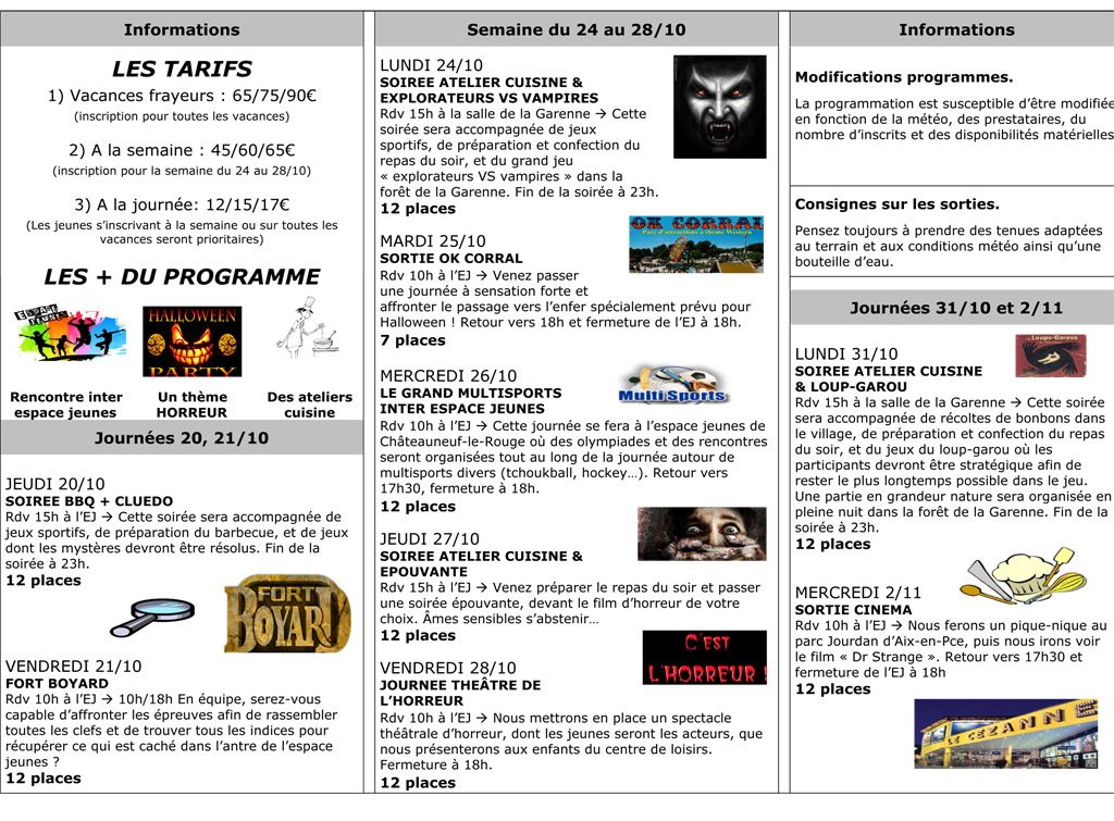Programme vacances de la Toussaint 2016