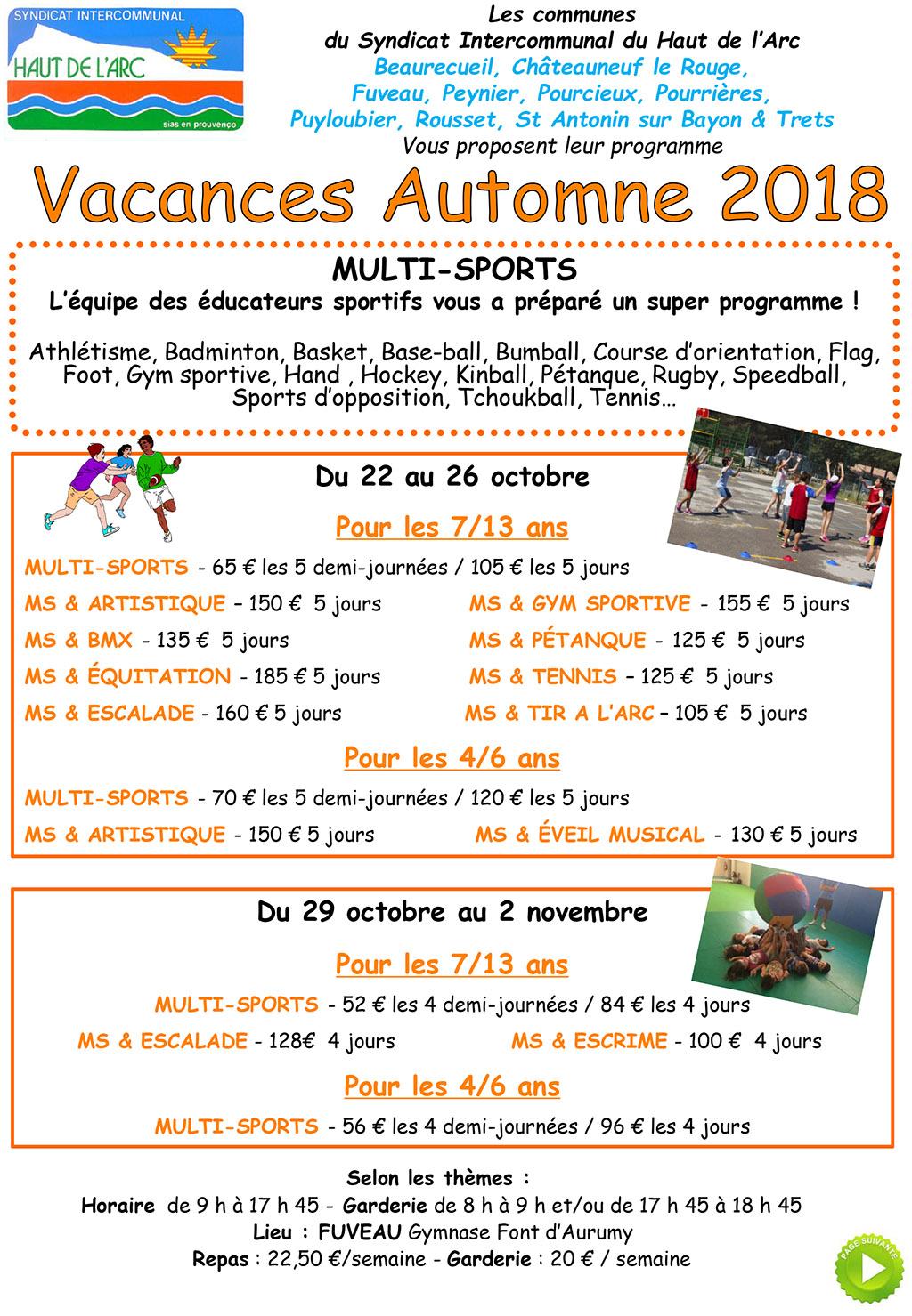 vacances automne 2018 SIHVA : Programme vacances automne 2018